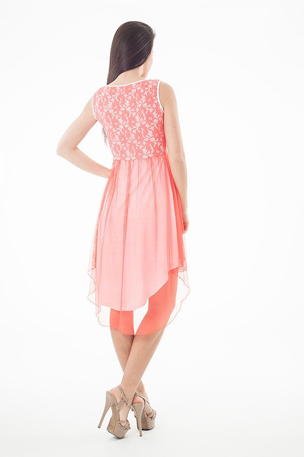 Lace Detail Layered High Low Dress