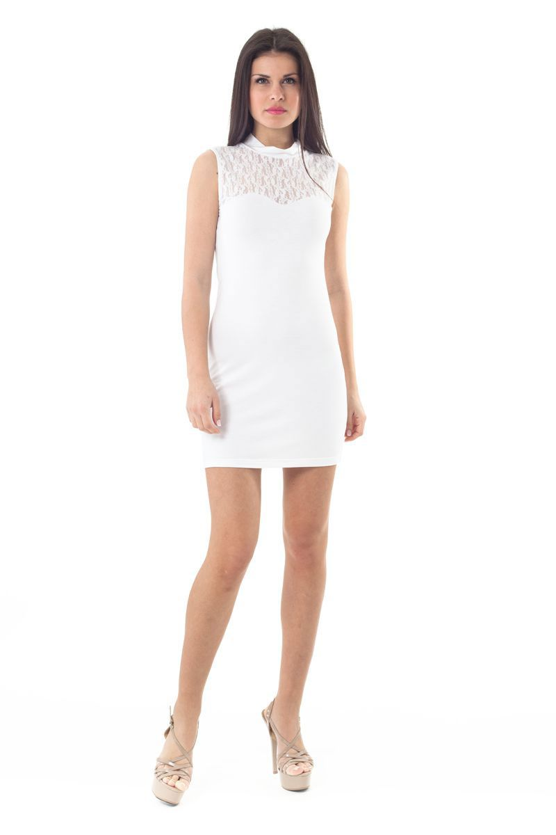 Lace Detail Stretch Mini Dress in White