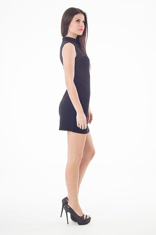 Sheer Detail Stretch Mini Dress