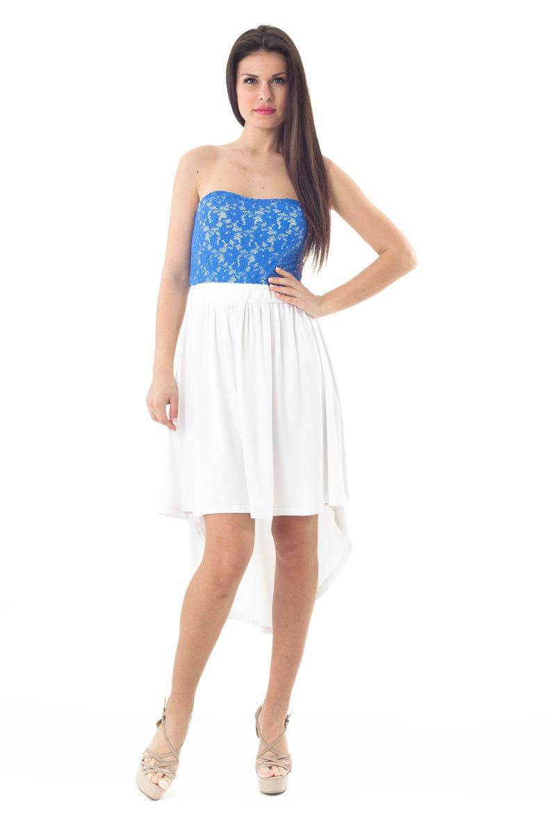 Strapless Lace Detail High Low Dress
