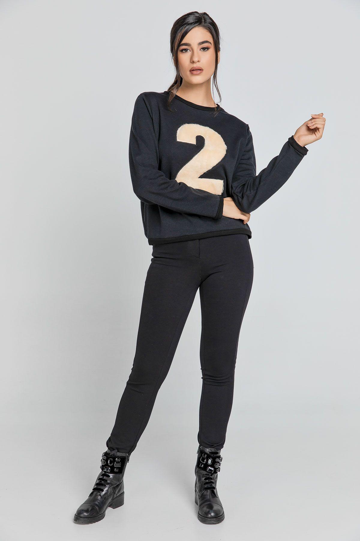 Black Appliqué Sweatshirt