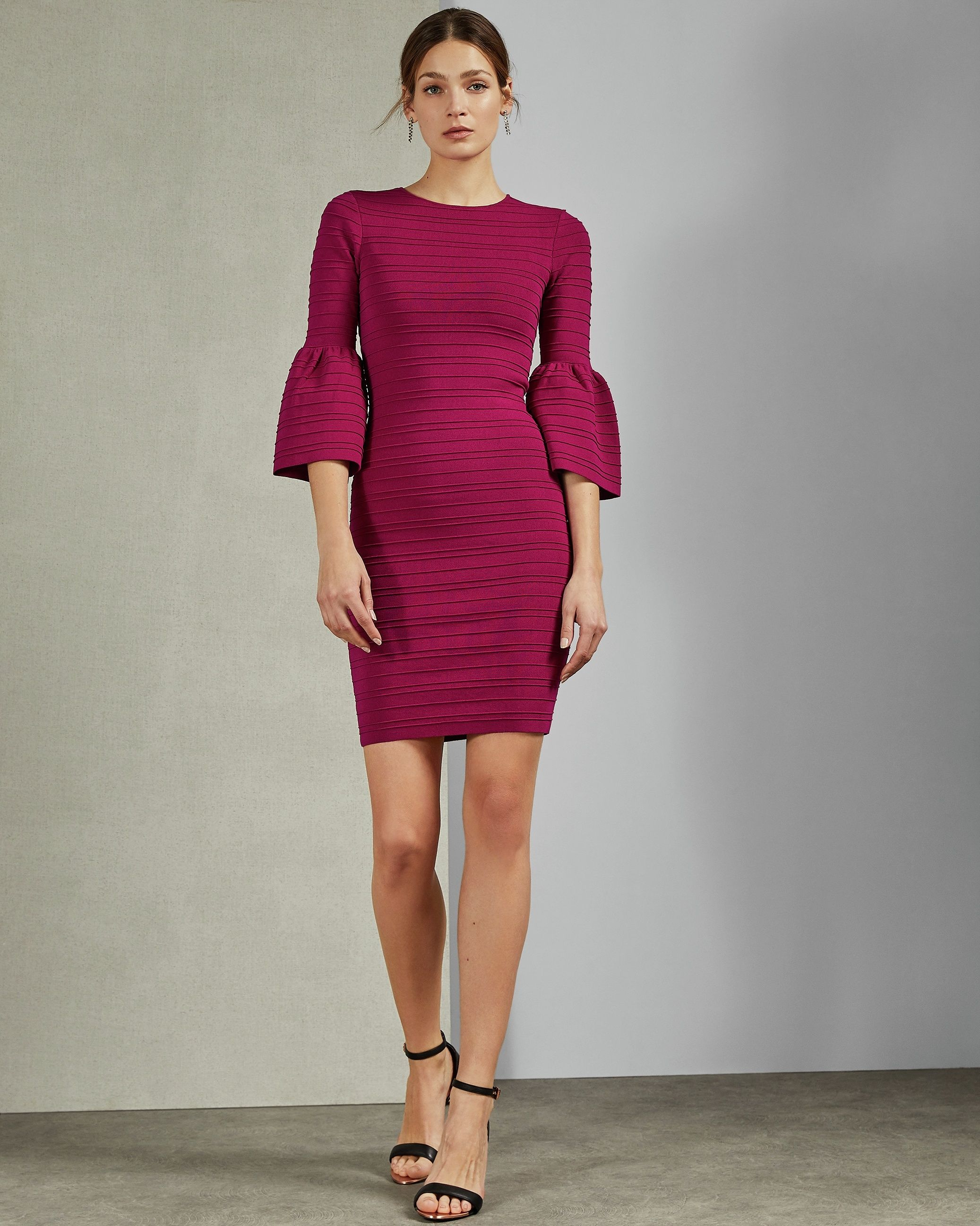 Ted Baker Yansiaa Bell Sleeve Bodycon Dress in Deep Pink