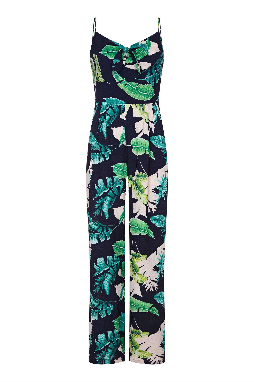 Tropical Palm Print Tie Knot Jumpsuit