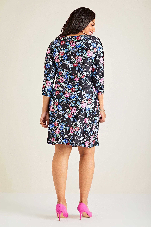 Black Yumi Curve Midnight Daisy Print Wrap Dress