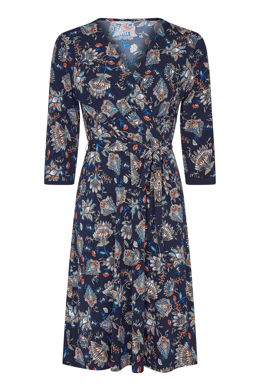 Navy Plus Size Chintz Floral Jersey Wrap Dress