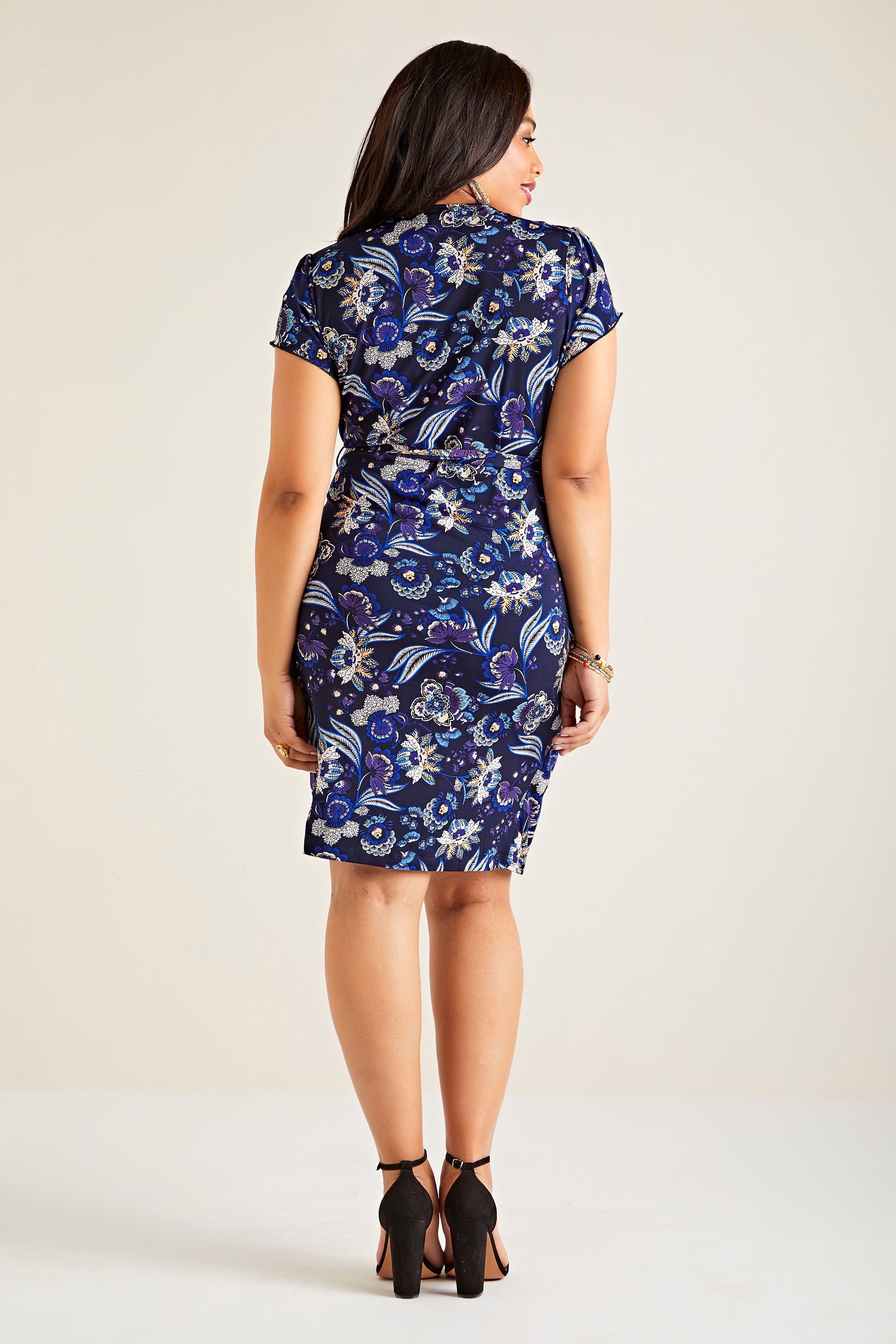 Navy Plus Size Indian Flower Print Jersey Wrap Dress