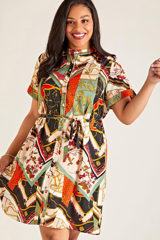 Multi Plus Size Patchwork Chain Print Shirt Dress