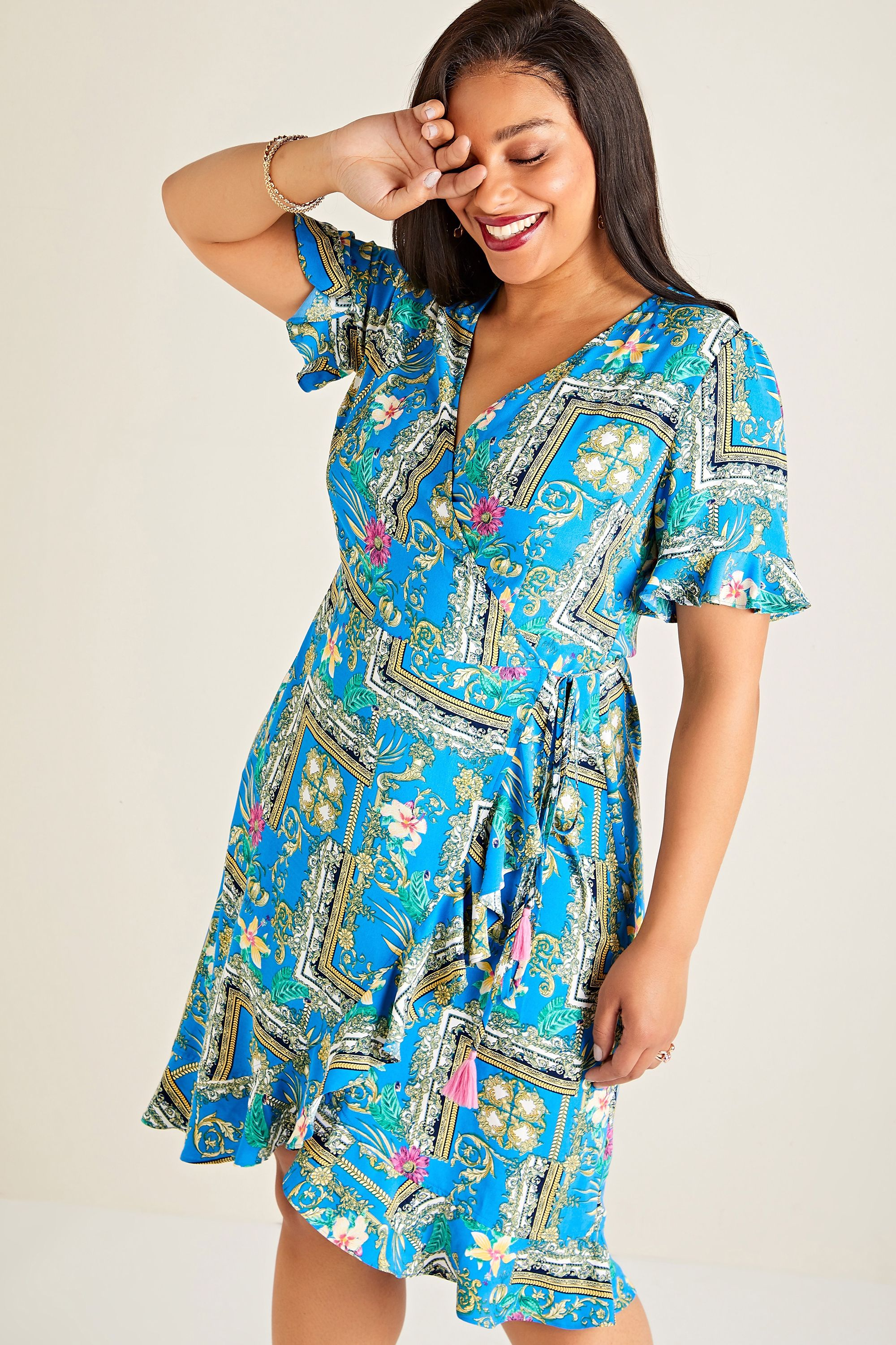 Blue Plus Size Flower Scarf Print Wrap Dress With Frill