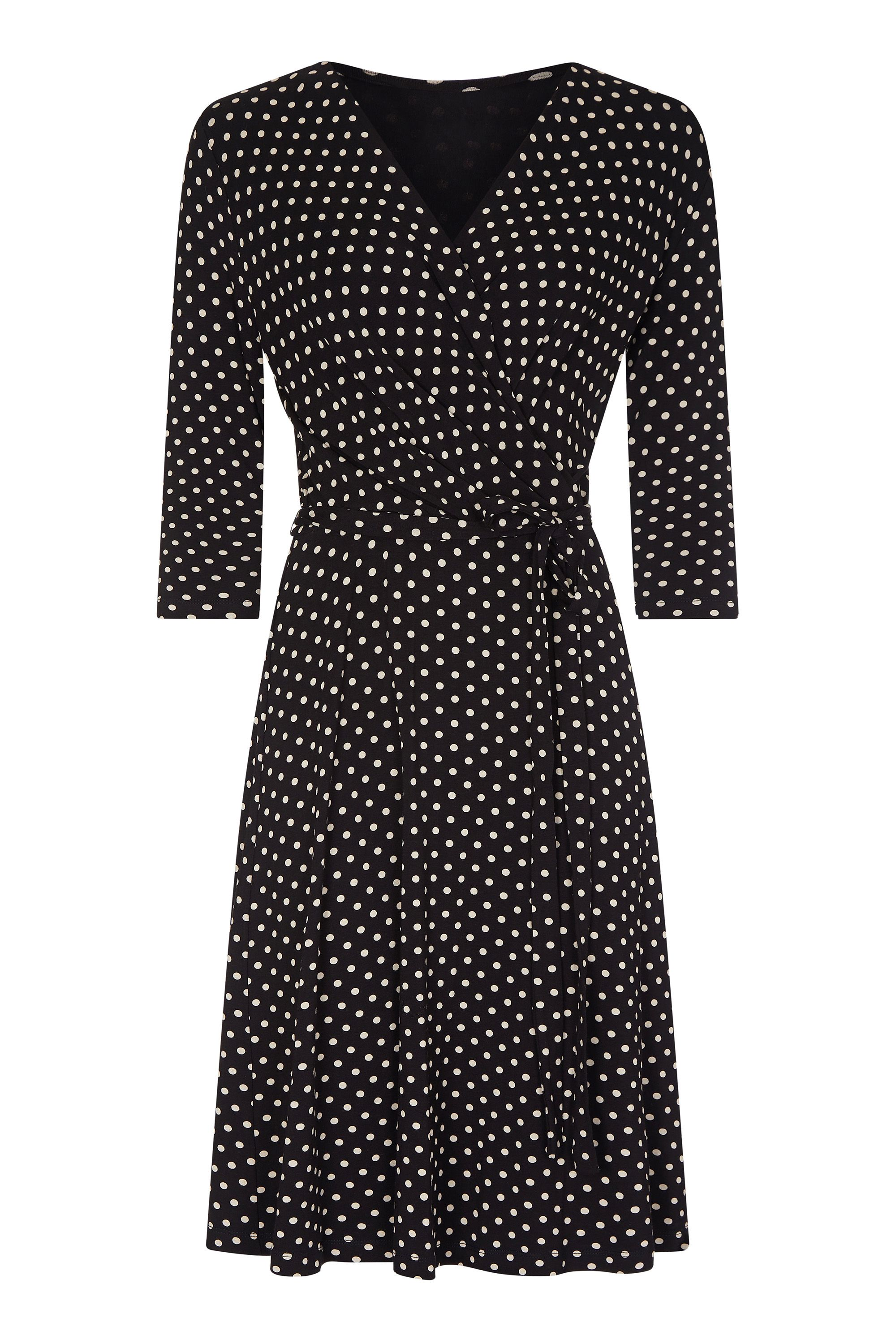Black Plus Size Jersey Spot Wrap Dress