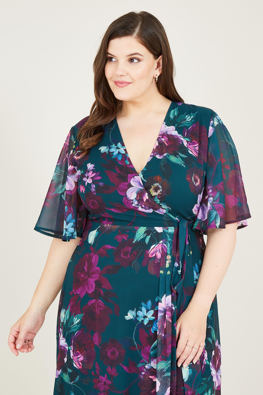 Yumi Curve Green Rose Print Wrap Midi Dress