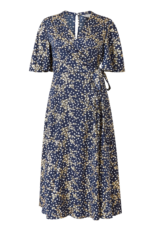 Yumi Curve  Navy Printed Foil Floral Wrap Midi Dress