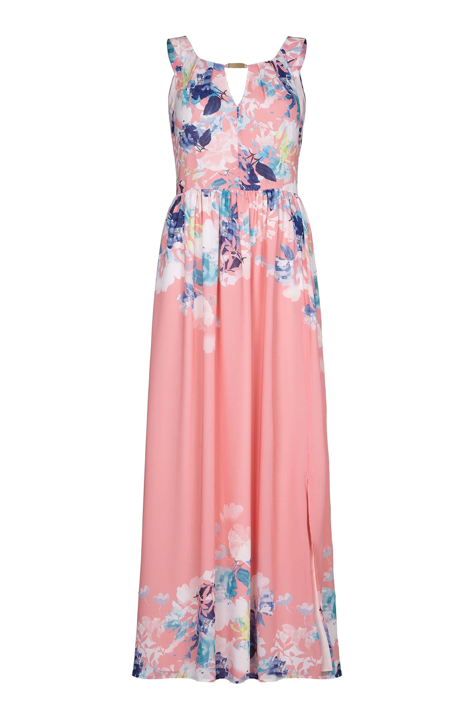 Coral Watercolour Floral Maxi Dress
