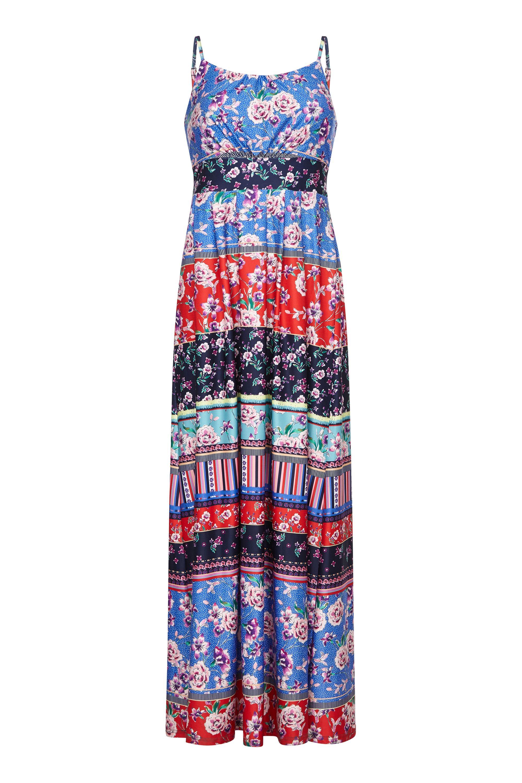 Patchwork Stripe Jersey Maxi Dress