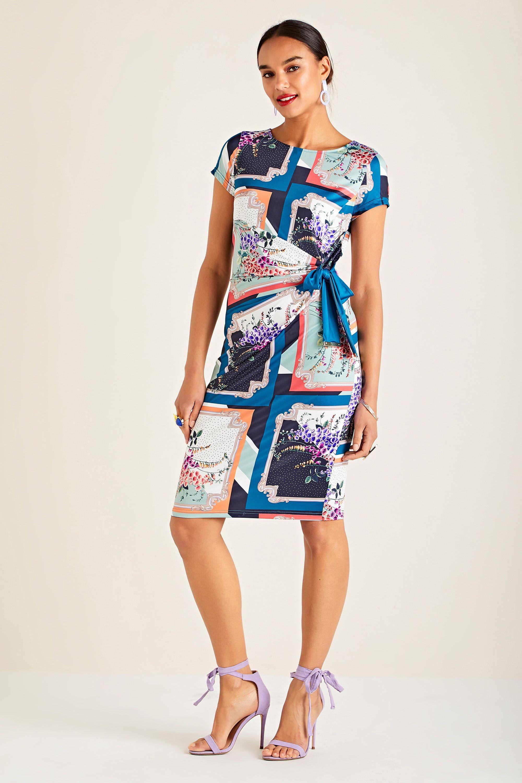 Foxglove Scarf Print Jersey Dress With T