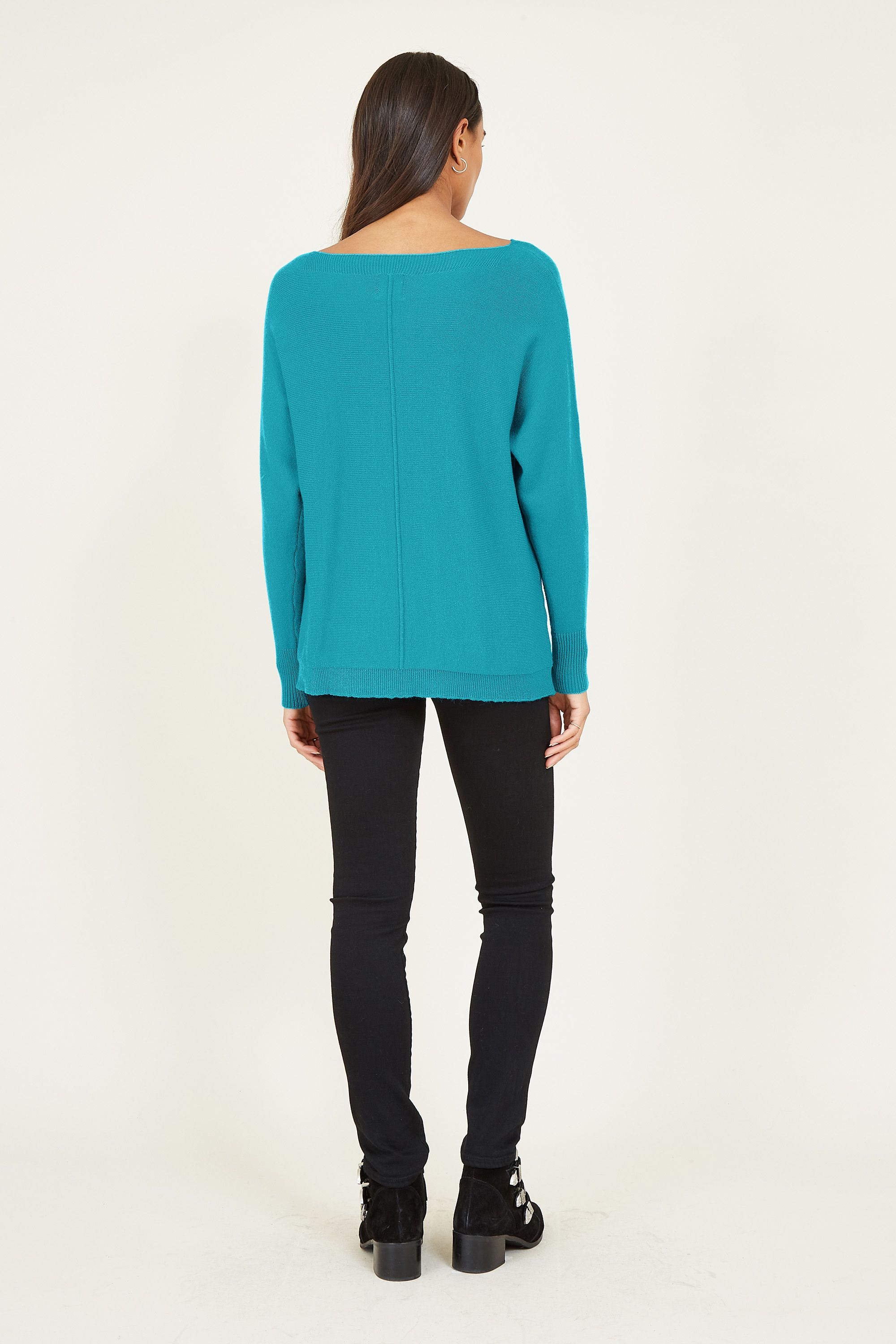 YUMI  Blue Relaxed Dropped Sleeve Jumper
