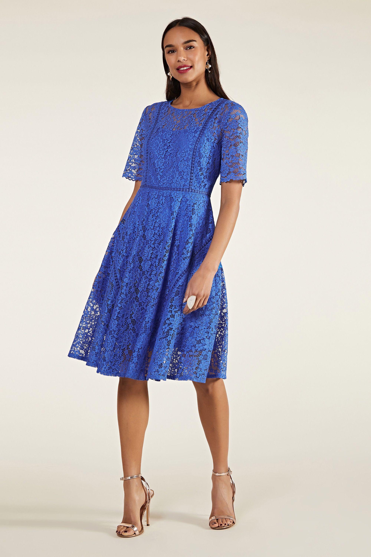 Blue Lace Wedding Guest Dress