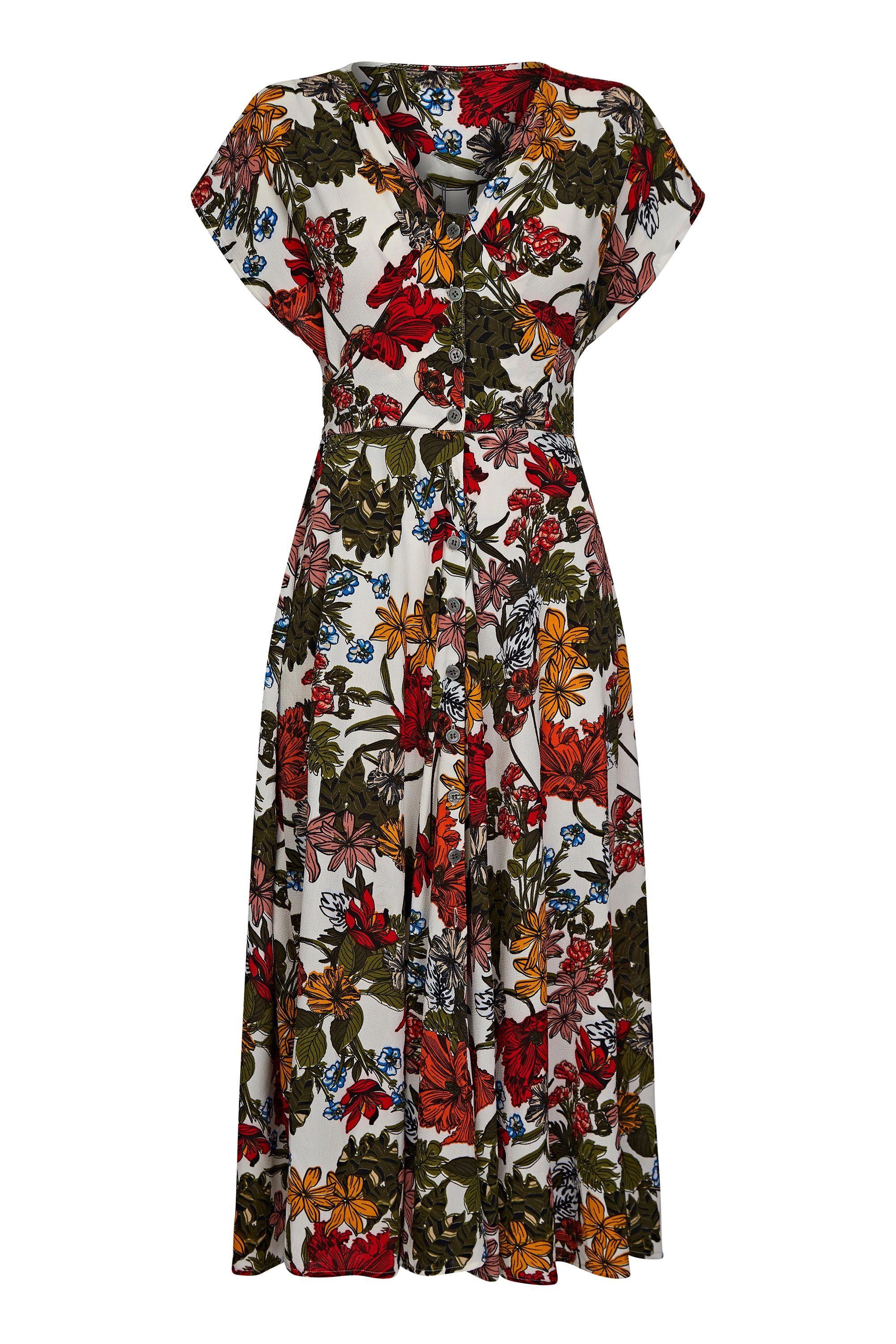 Jungle Print Button Through Midi Dress