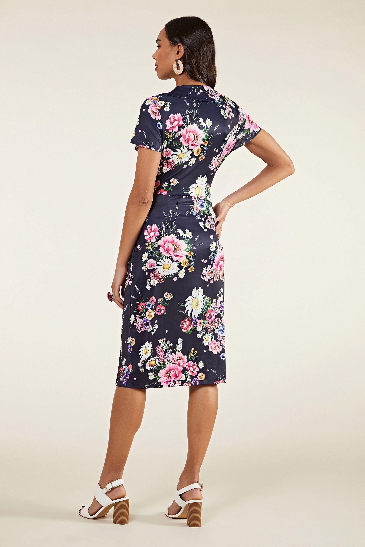 Daisy Bouquet Frill Wrap Dress