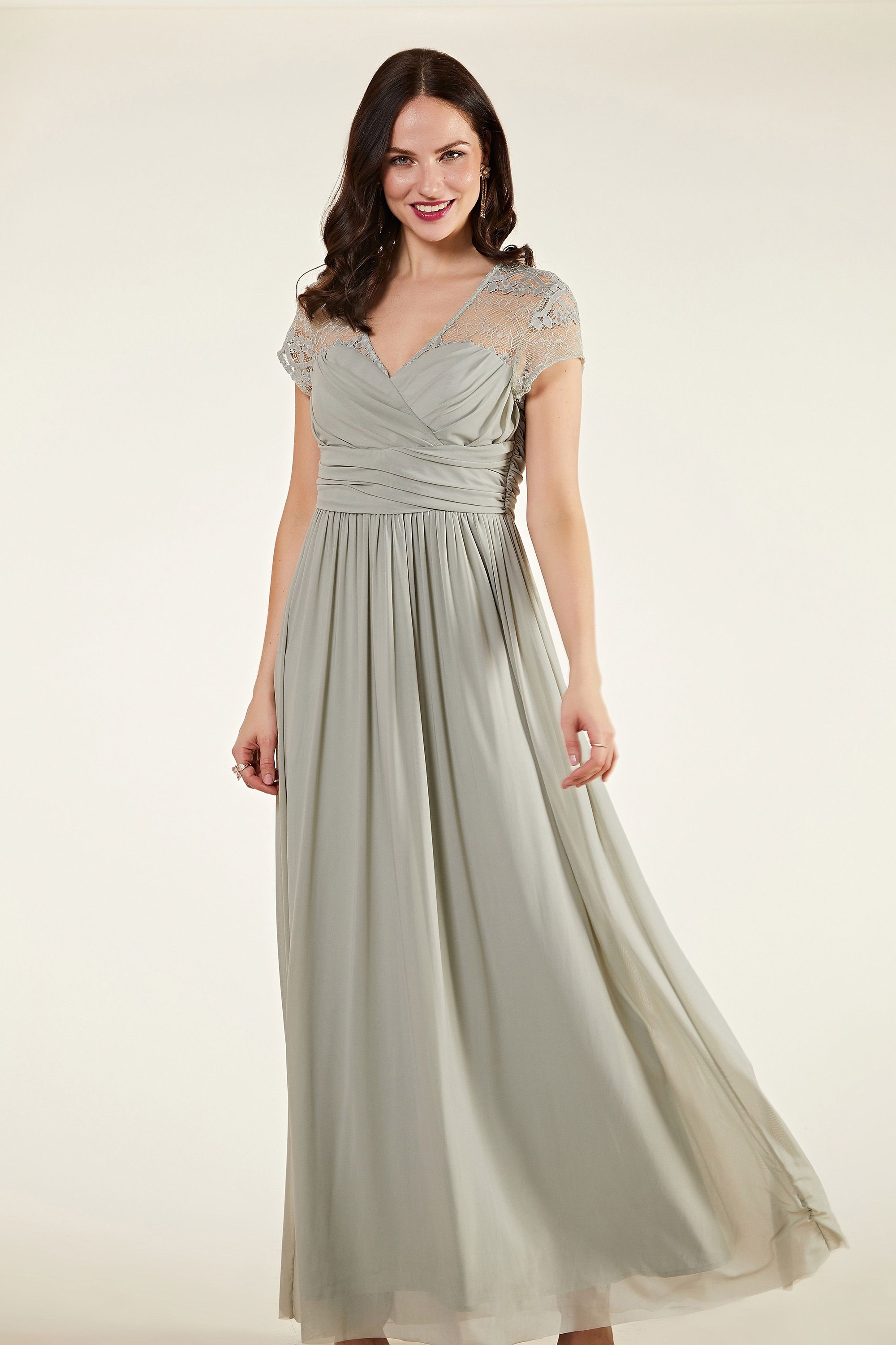Ruched Wrap Mesh And Lace Maxi Dress