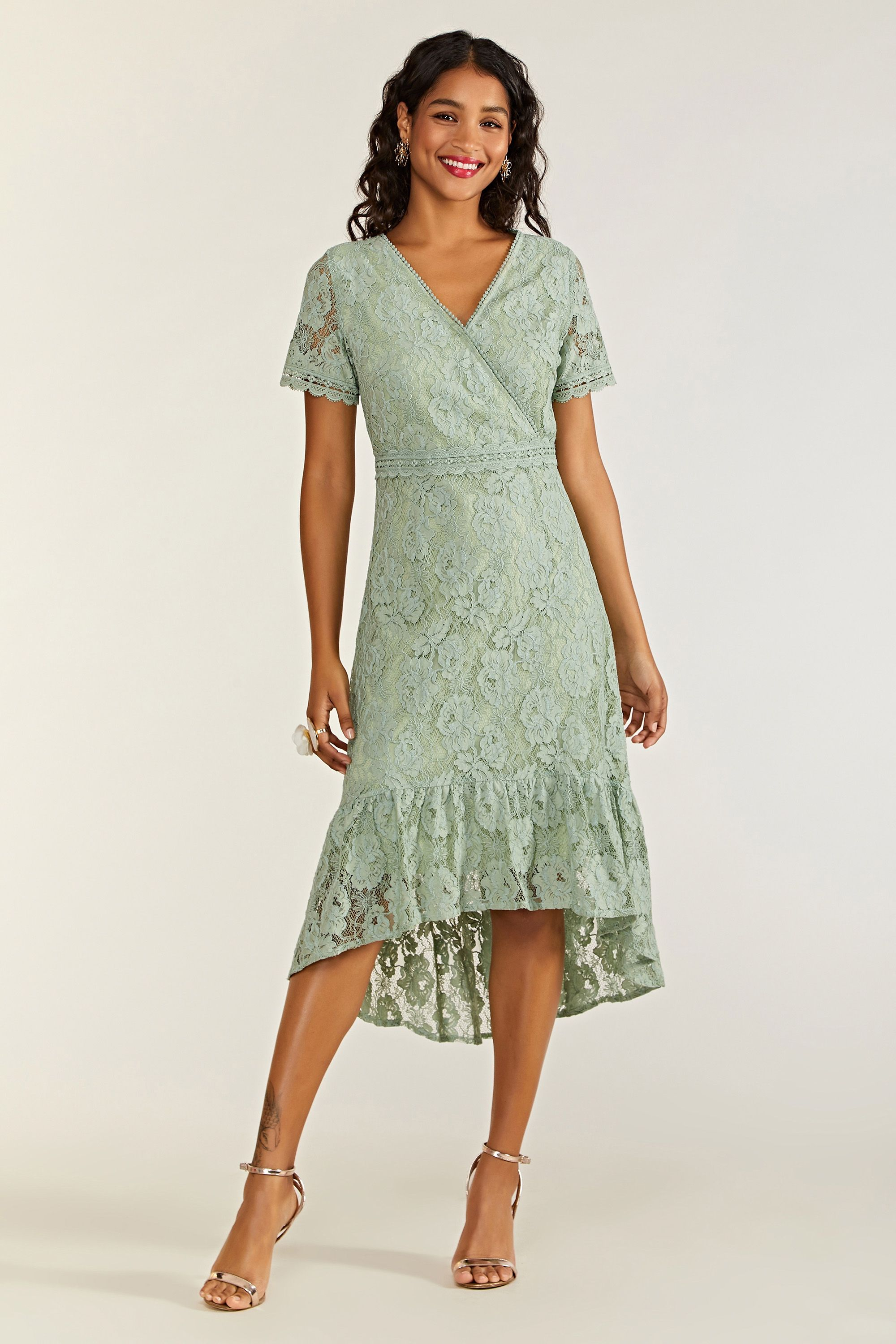 Lace Frill Dress With Lace Trim Detail