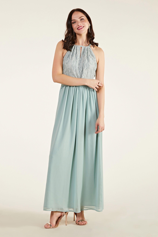 Green Lace Wrap Bridesmaid Dress