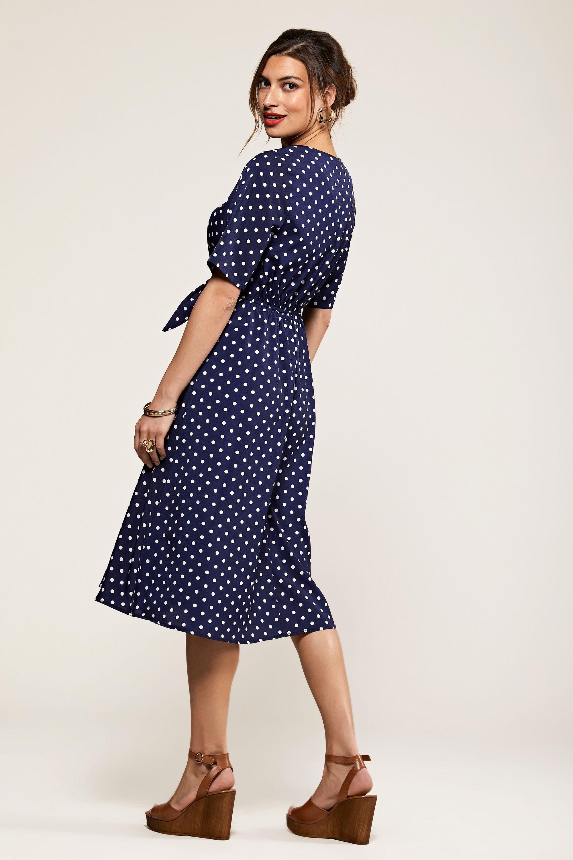 Navy Spot Tie Knot Button Detail Dress
