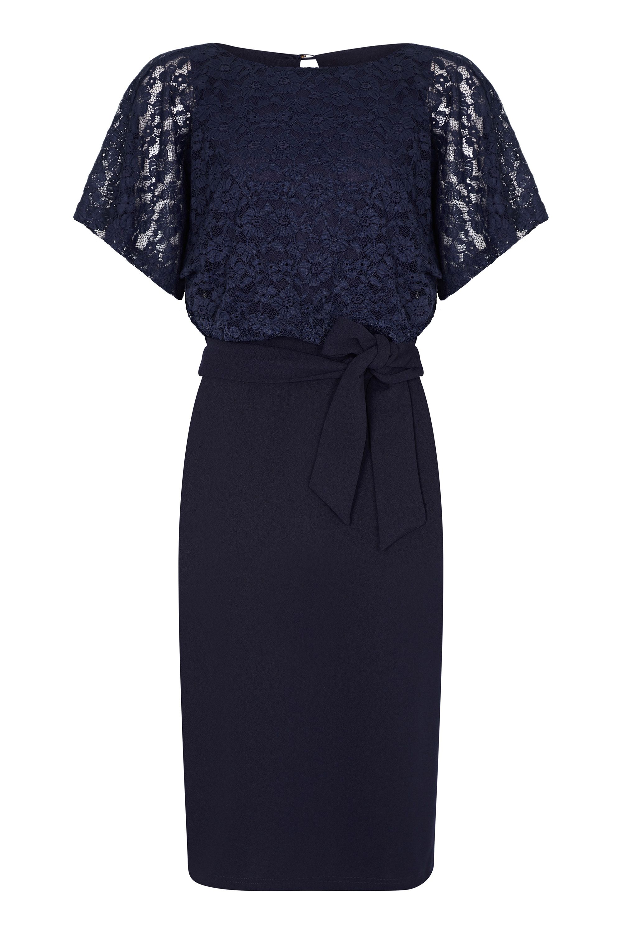 Navy Lace And Ponte Dress With Kimono Sleeves