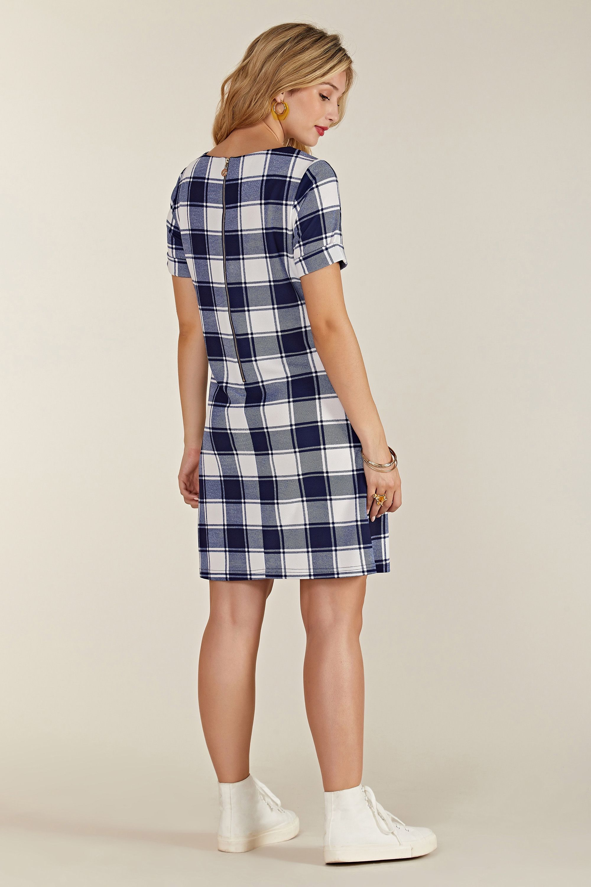 Navy Check Tunic With Zip Pocket Detail
