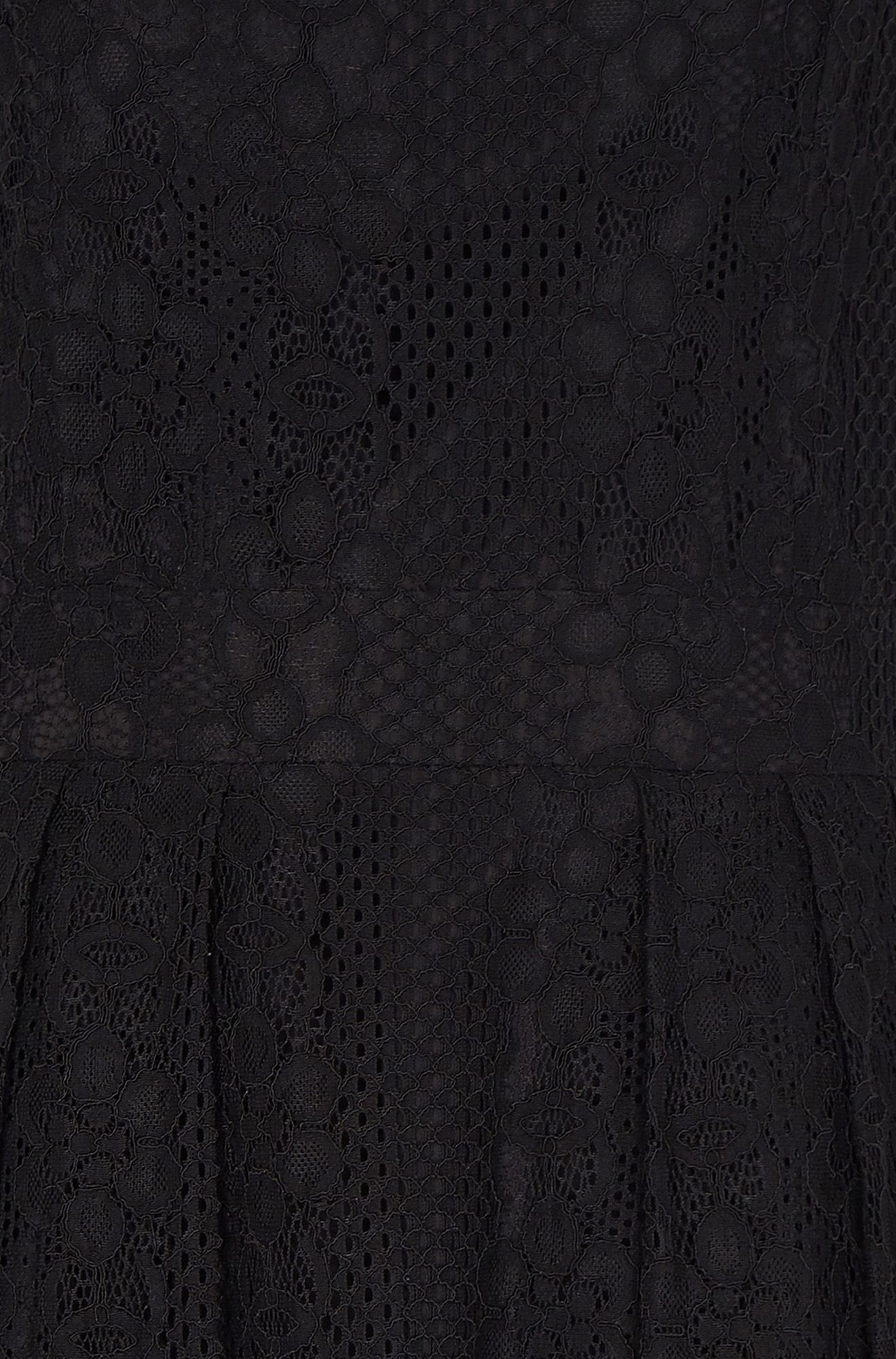 Black Fit And Flare Pleated Lace Dress
