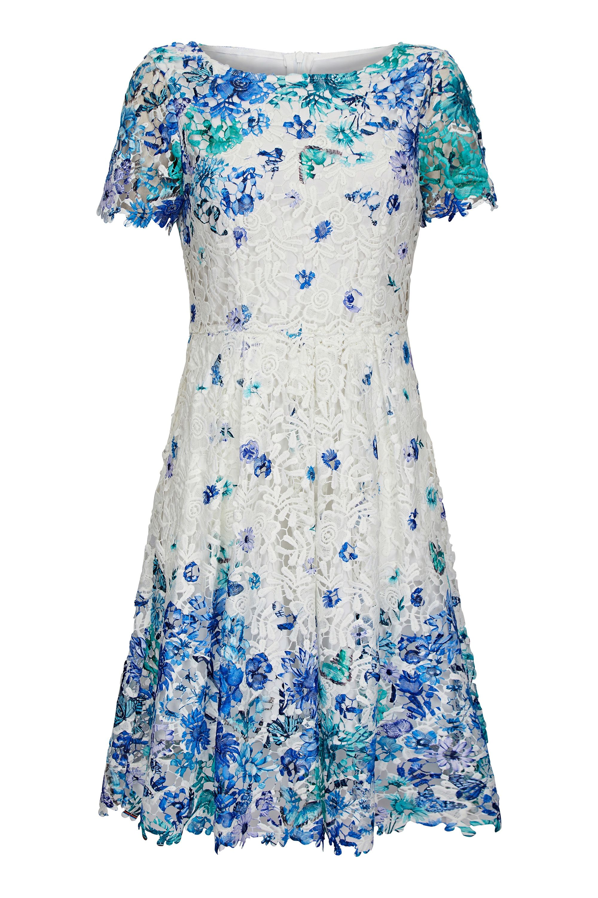 White Butterfly Print Lace Party Dress