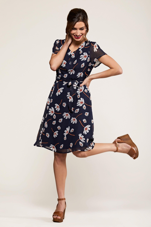 Navy Daisy Print Skater Dress