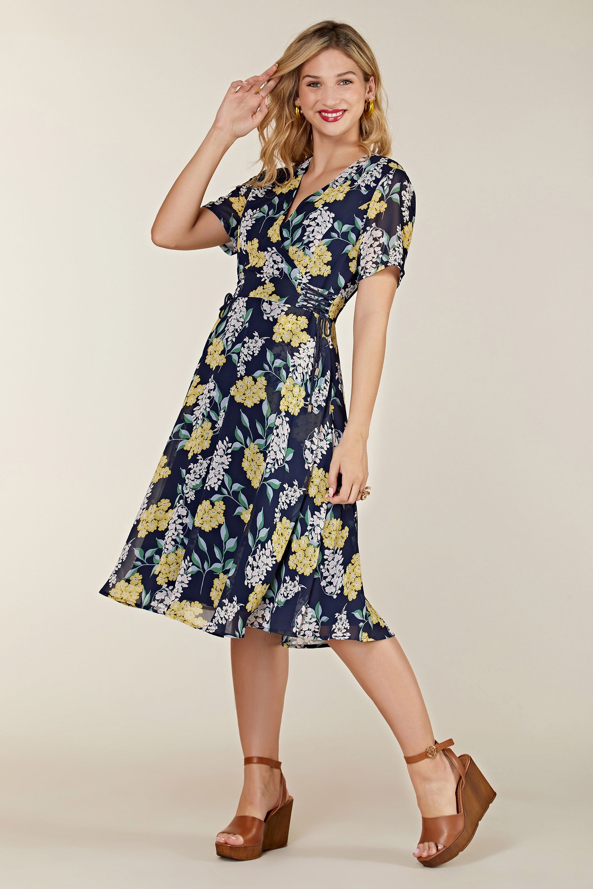 Spring Floral Dress With Tie Detail