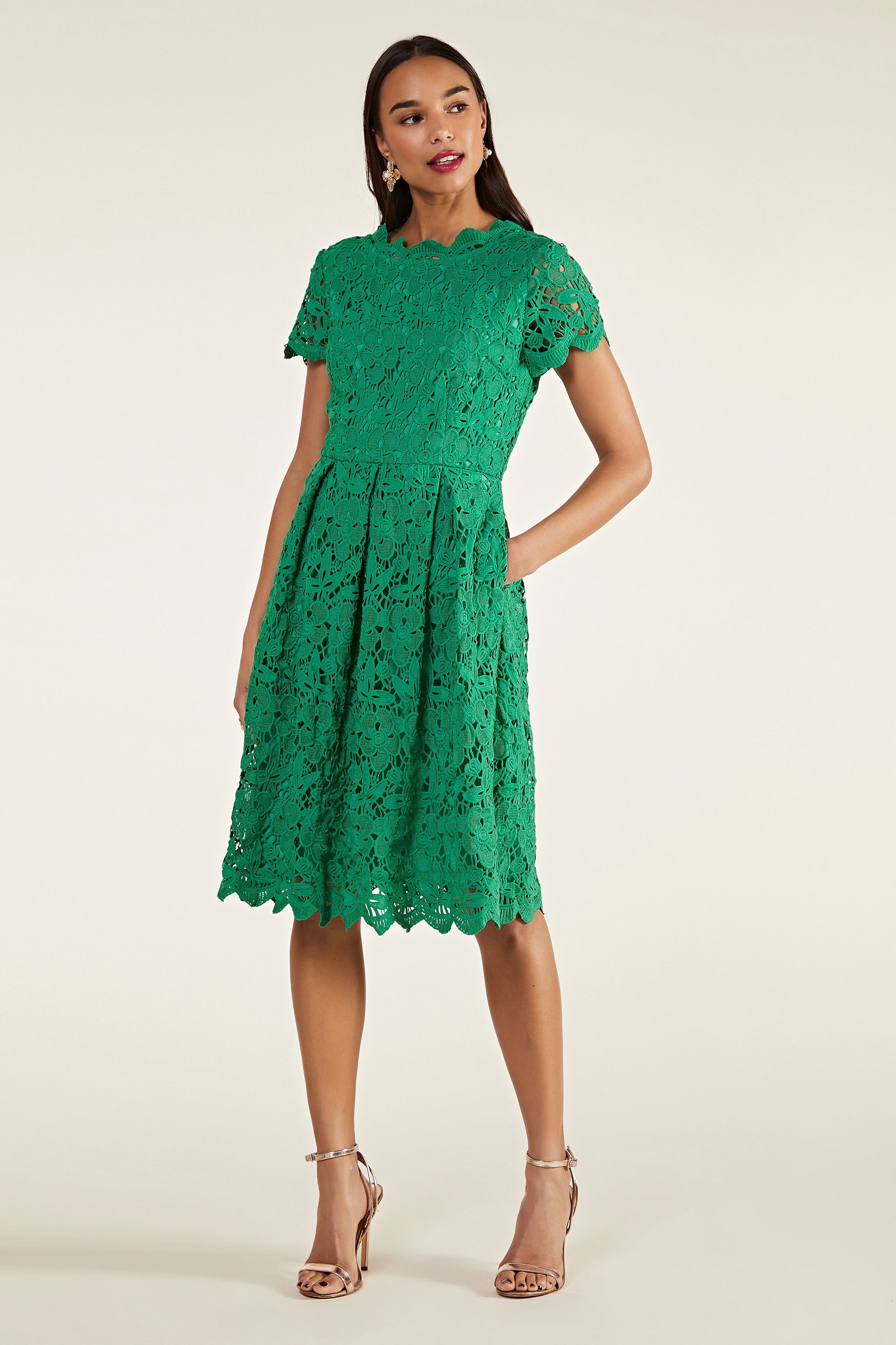 Green Guipure Lace Skater Dress