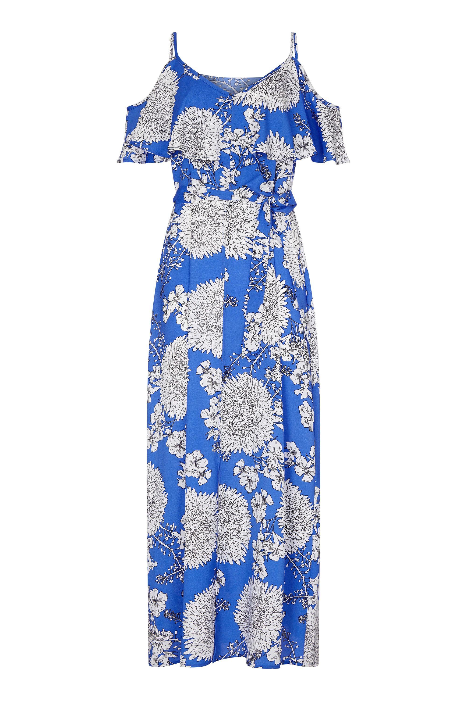 Blue Floral Frill Maxi Dress
