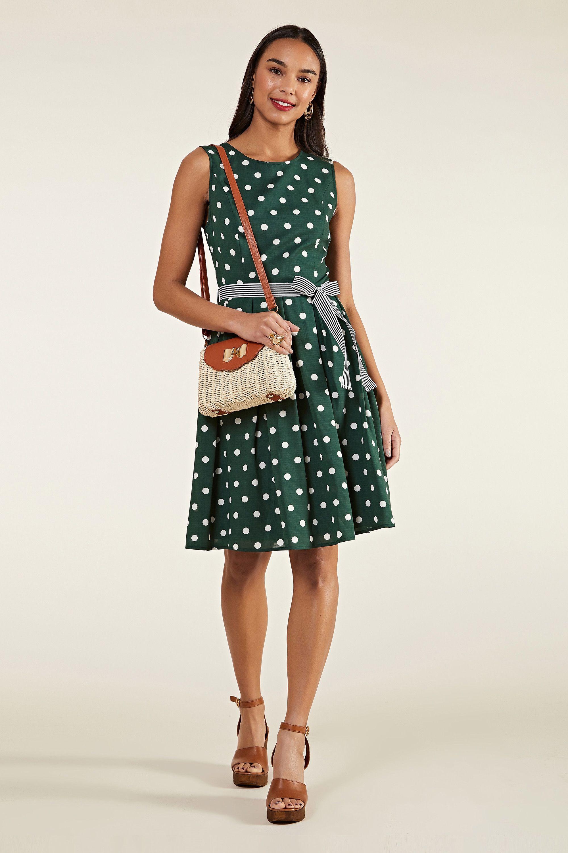 Green Spot Print Dress With Contrast Belt