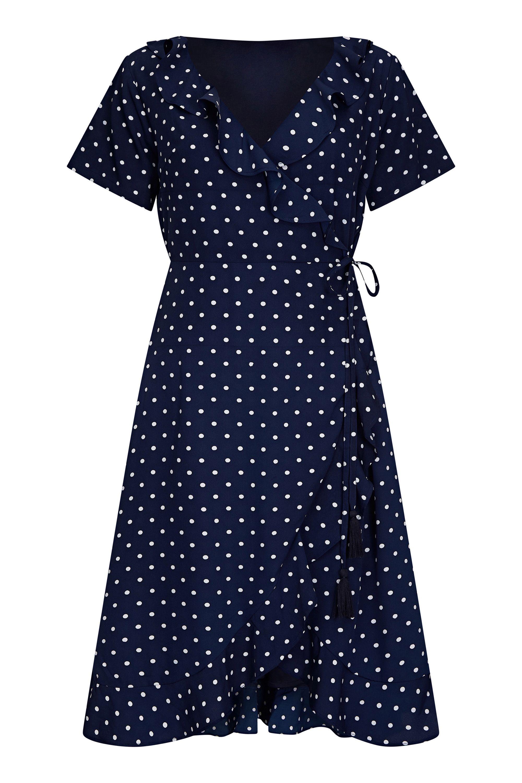 Navy Spot Print Wrap Dress