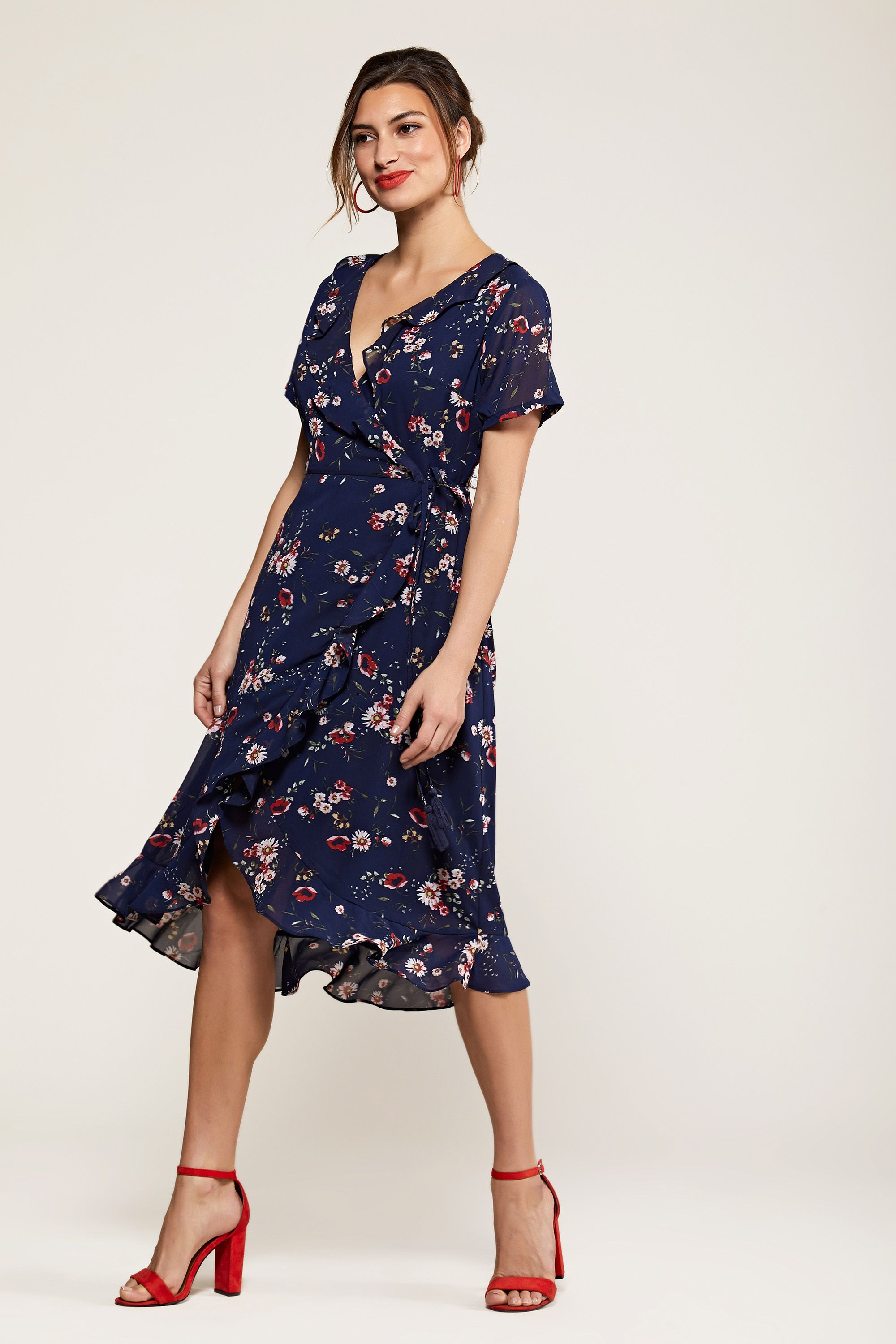 Navy Daisy Print Wrap Dress
