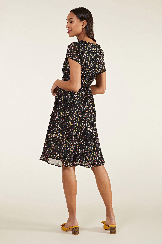 Black Ditsy Print Skater Dress