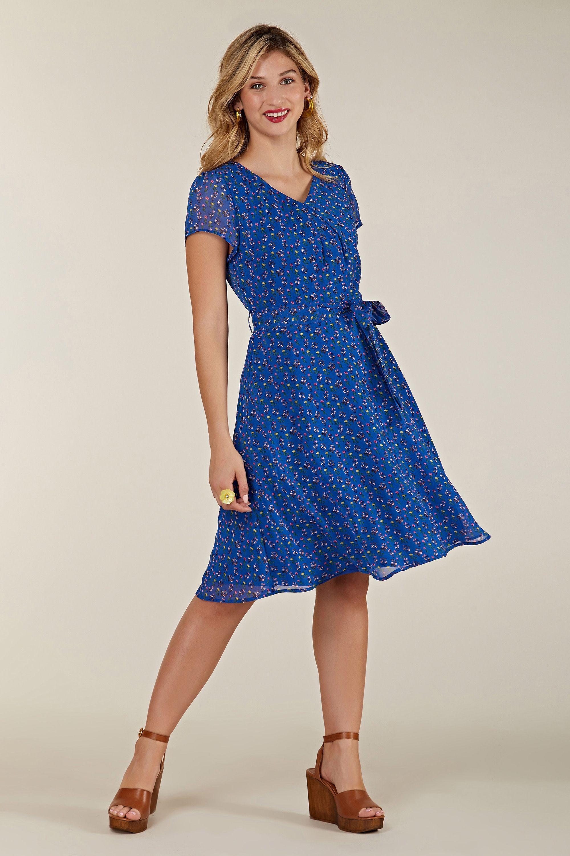 Blue Ditsy Floral Skater Dress