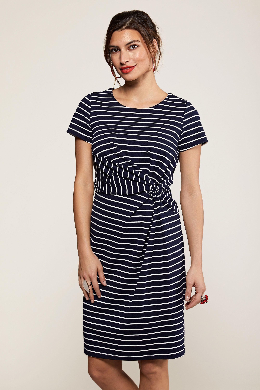 Navy Nautical Stripe Twist Knot Dress