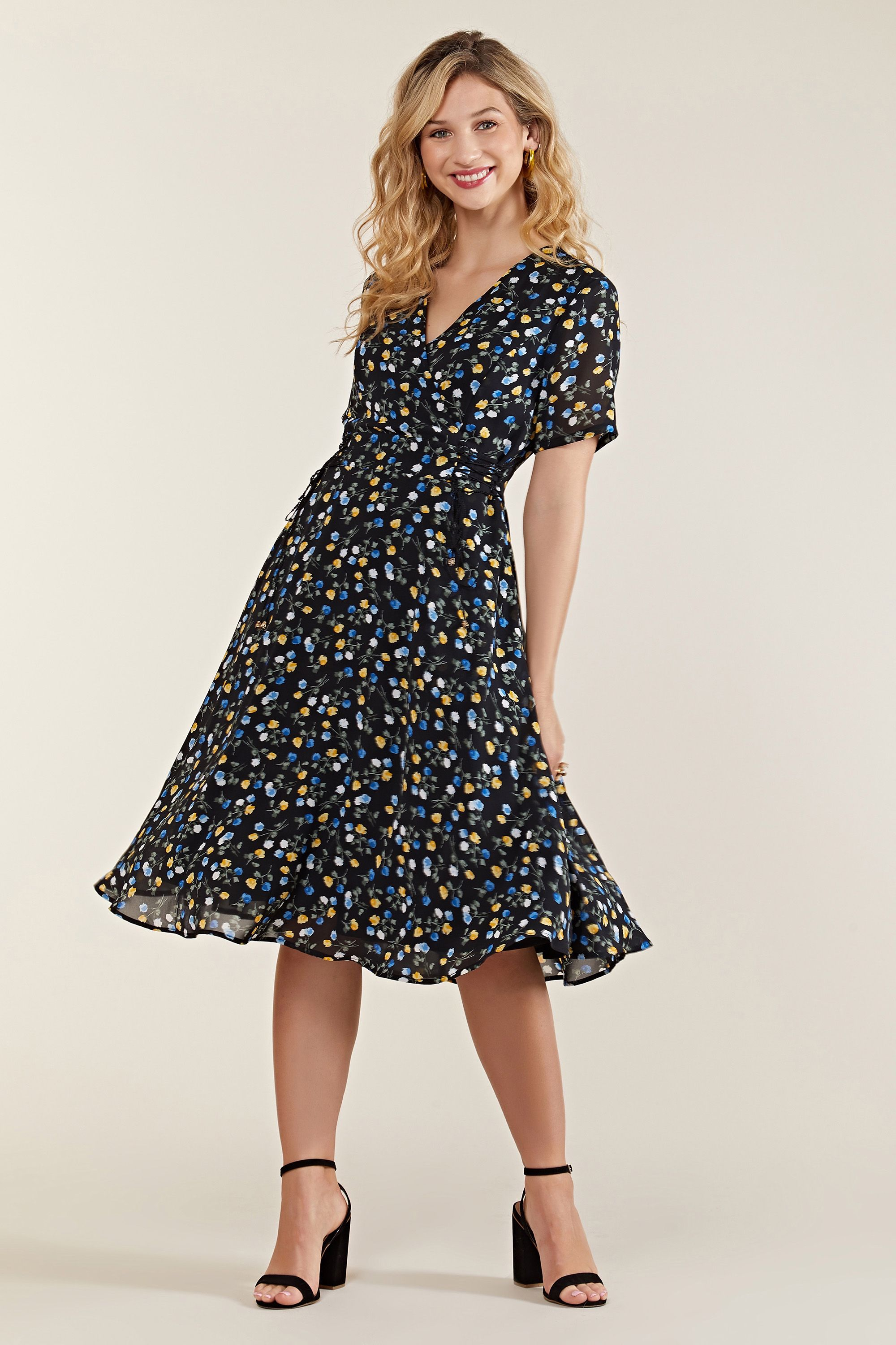 Ditsy Wrap Dress With Tie Detail