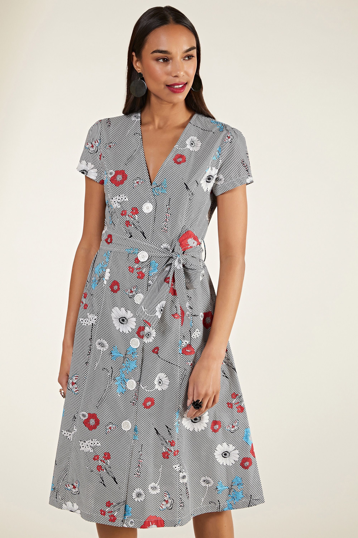 Stripe Floral Shirt Dress With Tie Belt
