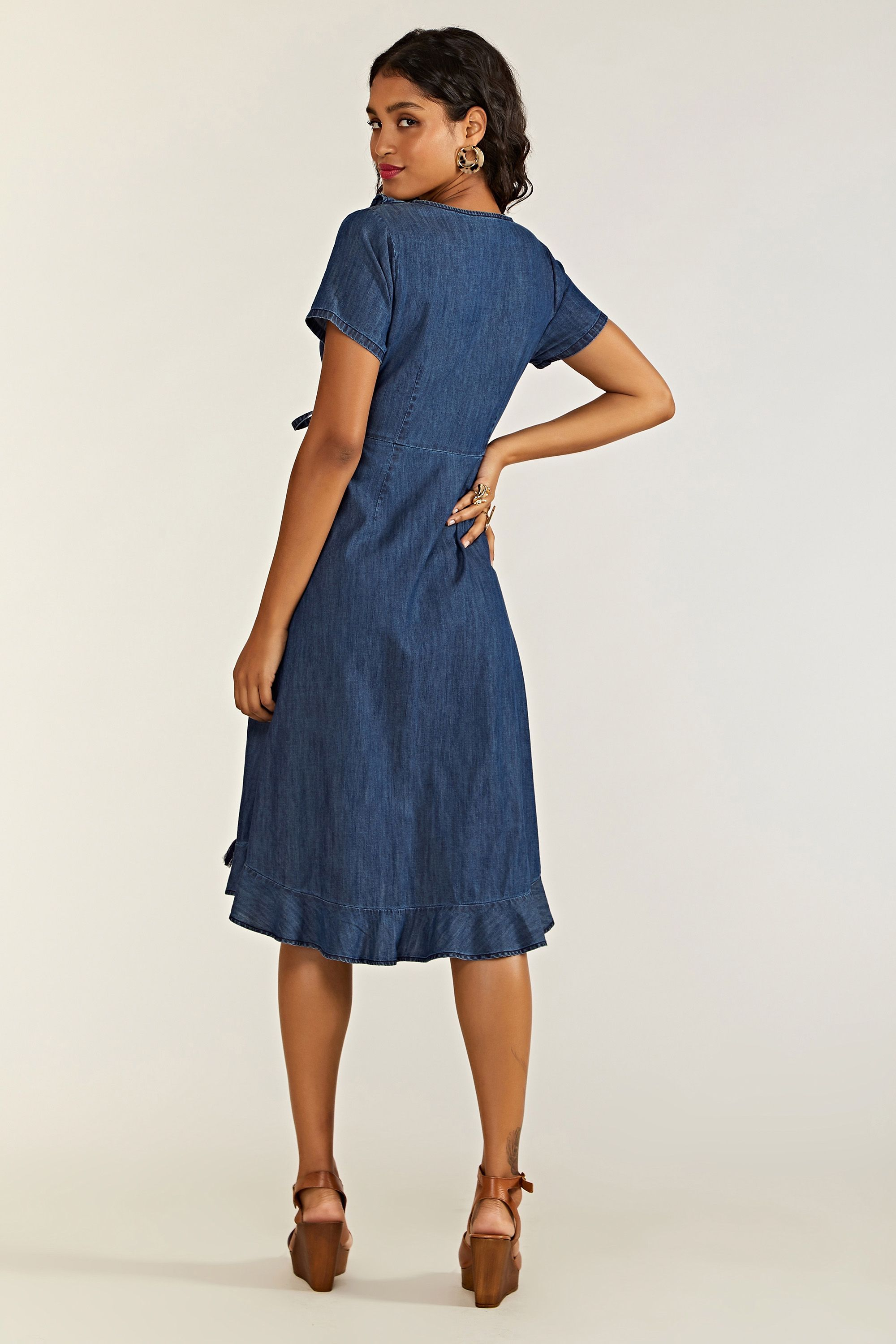 Blue Denim Wrap Dress
