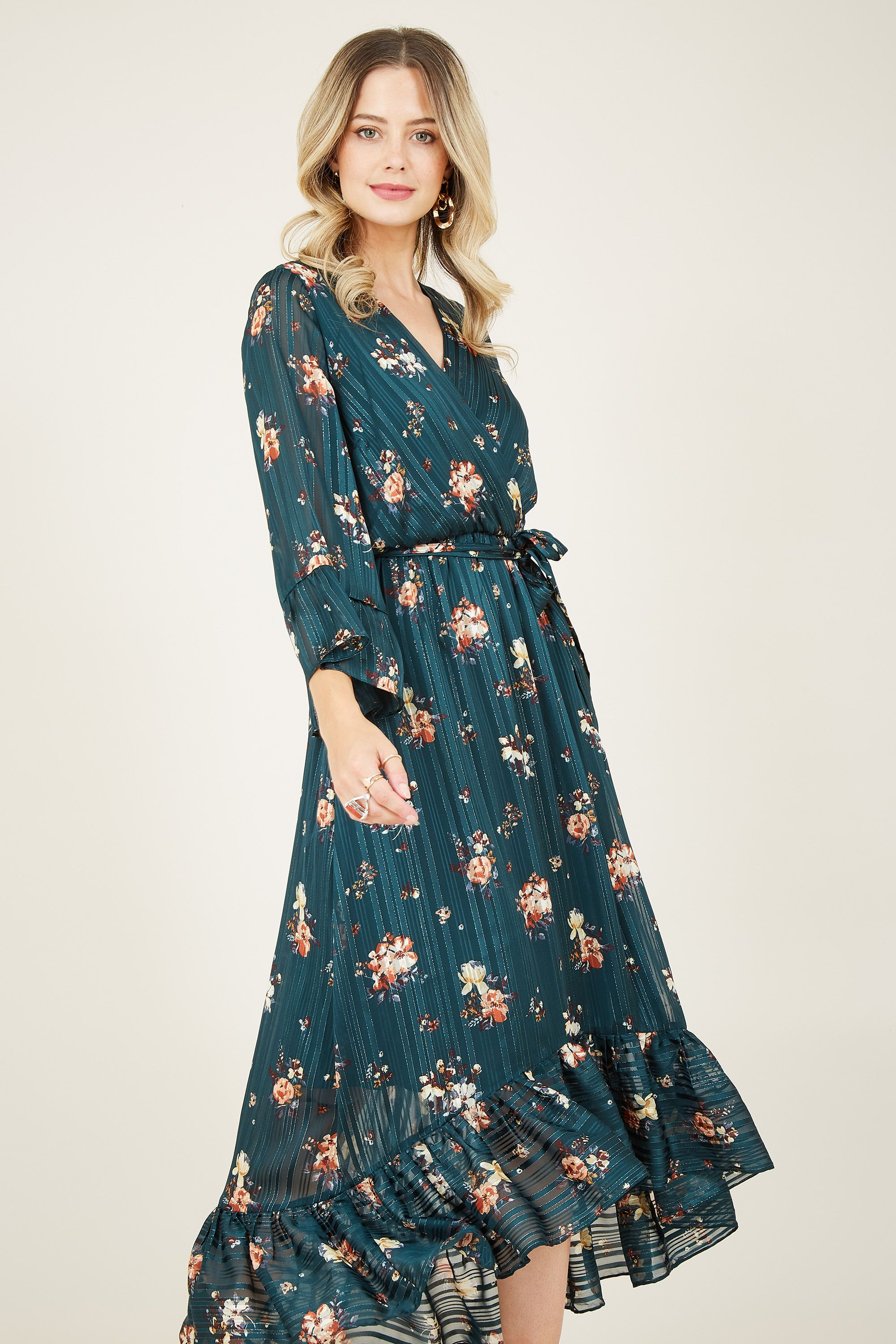 Green Lurex Floral Midi Dress With Dippe