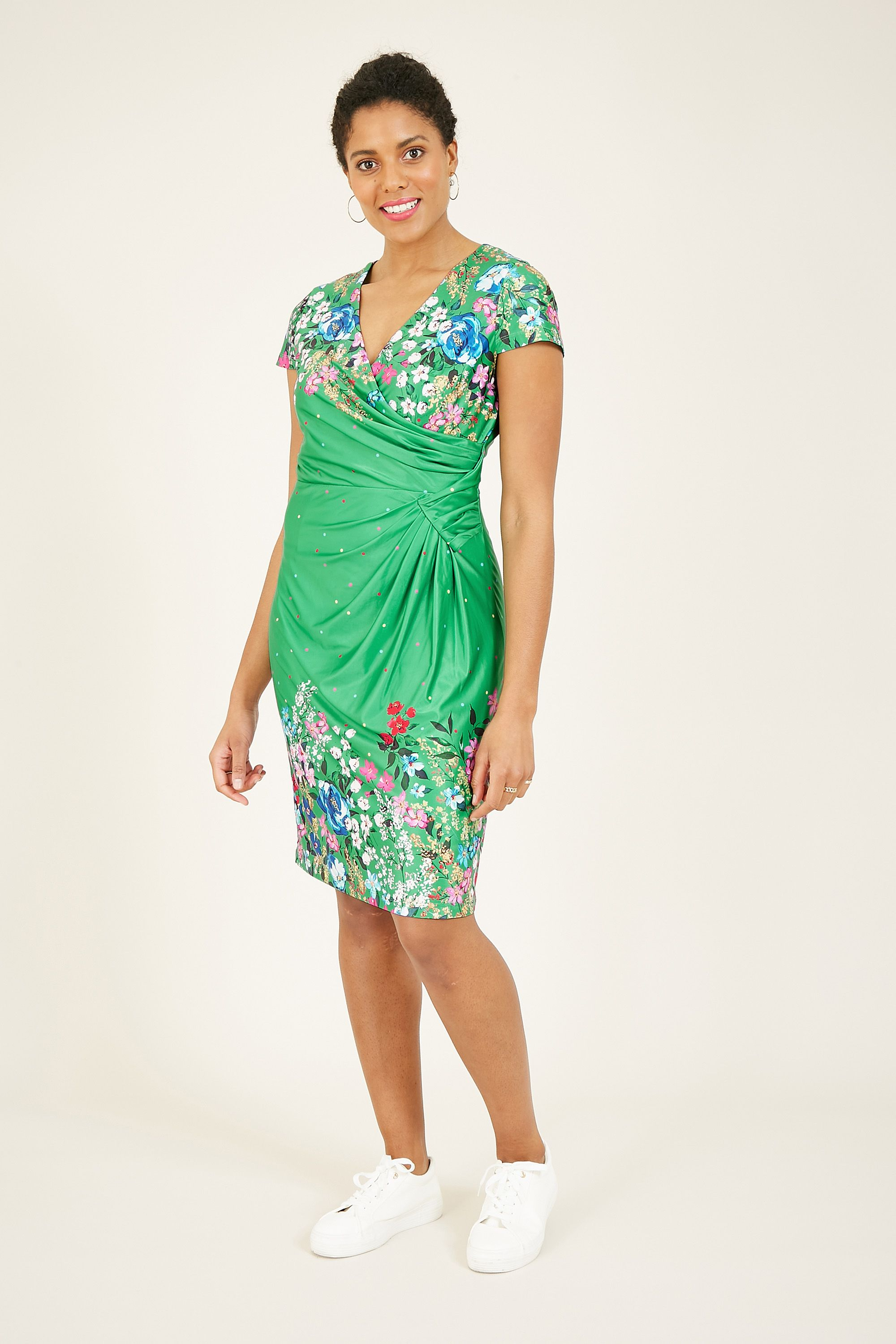 Yumi Green Cluster Floral Placement Tunic
