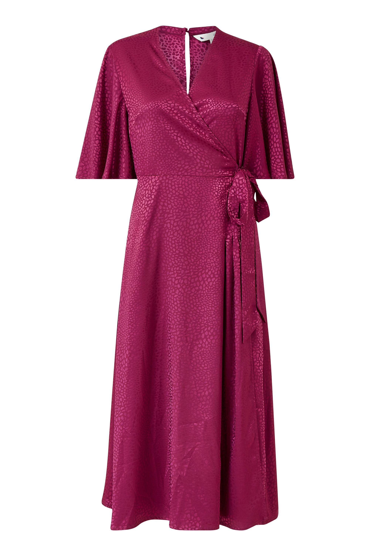 Yumi Fuchsia Wrap Midi Dress