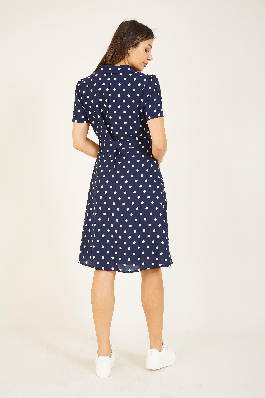 Yumi Navy Retro Shirt Dress
