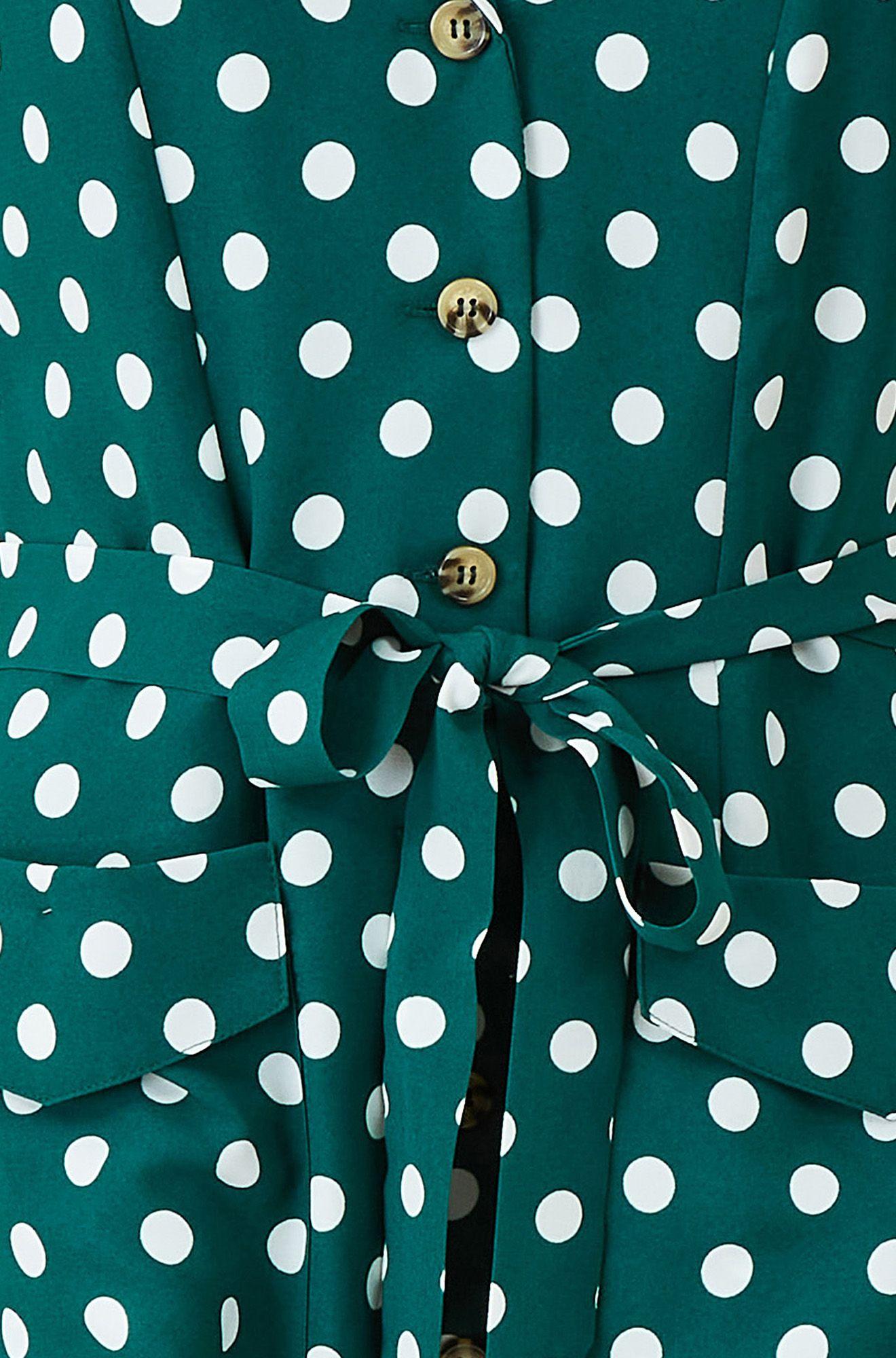 YUMI Green Spot Retro Shirt Dress