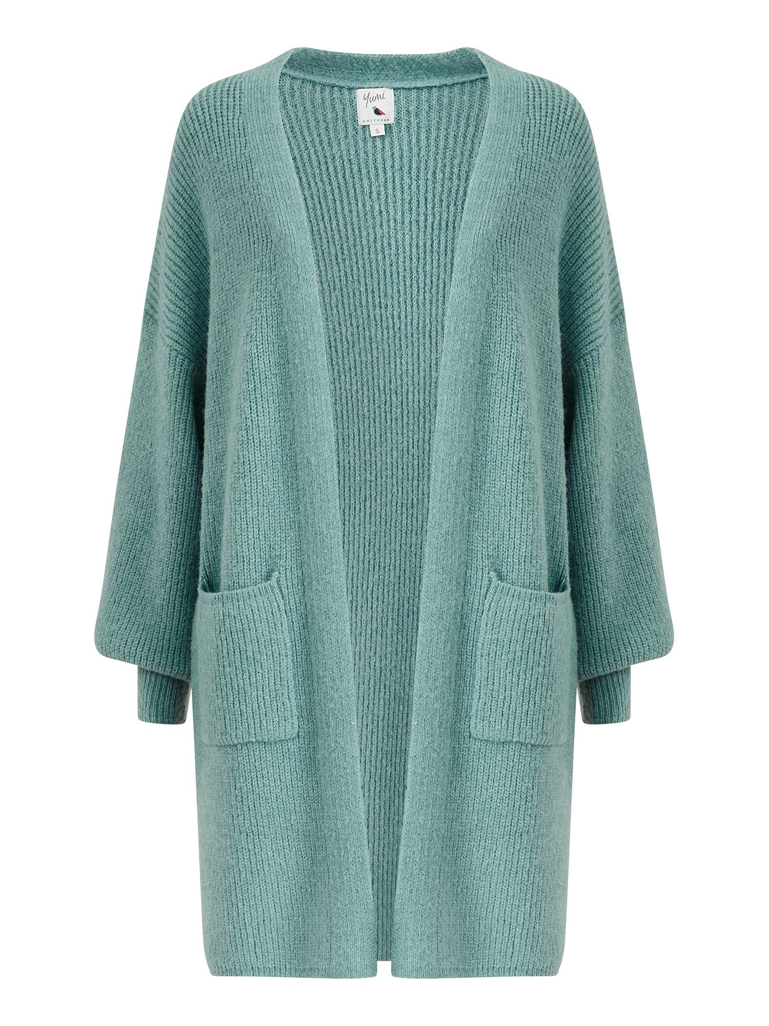 Yumi Blue Knitted Long Cardigan With Pocket D