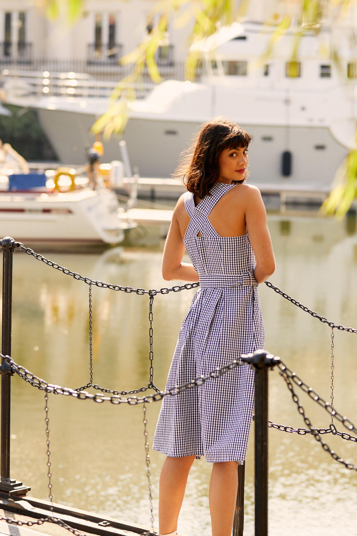 Yumi Black Gingham Cotton Dress With Matching